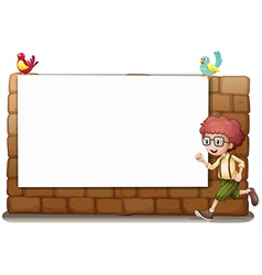 A white board a boy and birds vector image