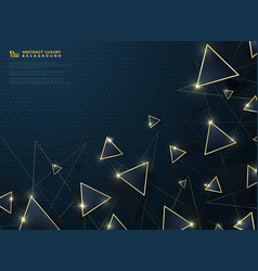 abstract modern deluxe blue triangle with gold vector image