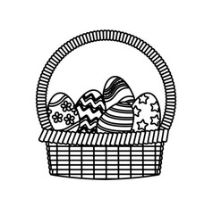 Basket egg easter celebration ornament line vector