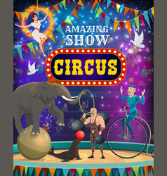 big top circus carnival animals and magic show vector image