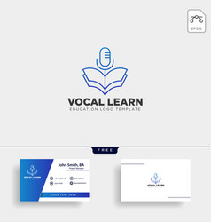 Book sing vocal learning line logo template vector