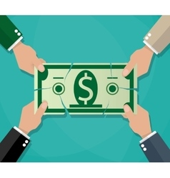 Businessman hands tearing dollar banknote vector