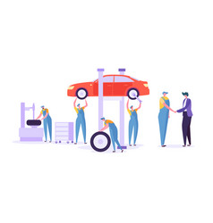 car repair auto service mechanic characters vector image