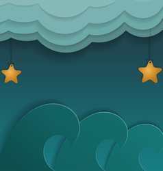 Cartoon of sea stars and clouds vector