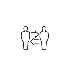 Change people line icon on white vector