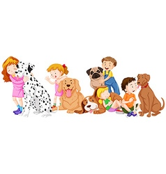 Children with pet dogs vector image