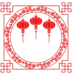 Chinese Paper Cutting Red Lantern Background vector