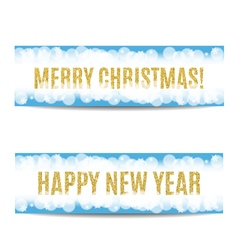 Christmas and New Year 2017 banner golden text and vector image
