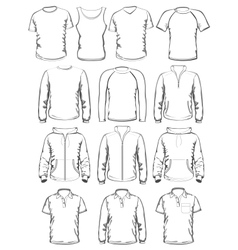 Collection of men clothes outline templates vector