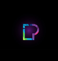colored alphabet letter p for company logo icon vector image
