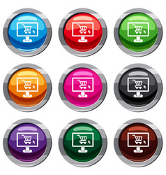 Computer monitor with shopping cart set 9 vector
