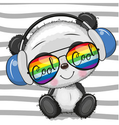 cool cartoon cute panda with sun glasses vector image