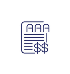 Credit rating icon on white finance line vector