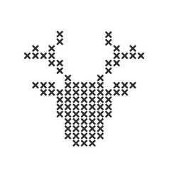 cross stitch knitting reindeer head shape shape vector image
