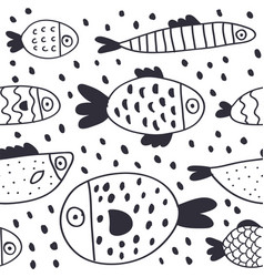 cute cartoon fish seamless pattern vector image