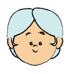 Cute cartoon senior avatar female old people face vector