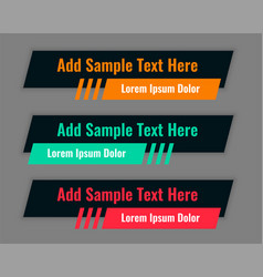dark black theme lower third banners template set vector image