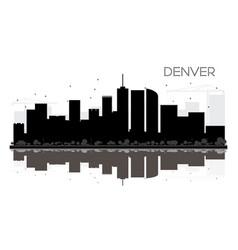 denver city skyline black and white silhouette vector image