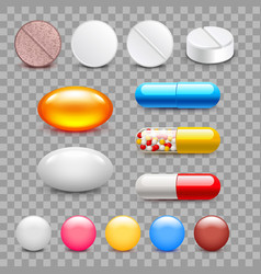different medicine pills icons isolated set vector image