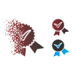 Dispersed pixel halftone validation seal icon vector