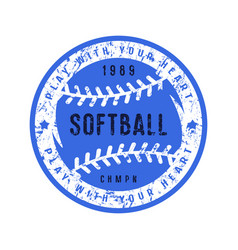 emblem of softball championship vector image