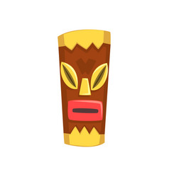 Ethnic tribal mask carved wooden statue cartoon vector