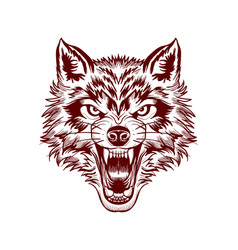 Fierce wolf face vector