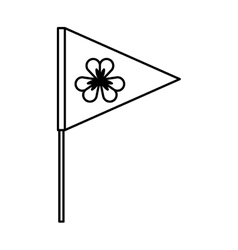 flag with Saint patricks clover icon vector image