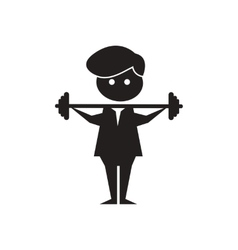 Flat icon in black and white man barbell vector