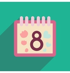 Flat icon with long shadow Womens Day Calendar vector