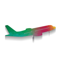 flying plane sign side view colorful vector image