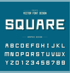 font and alphabet square typeface letter vector image