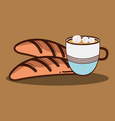 fresh bread with cup of coffee icon vector image