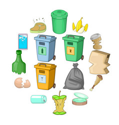 Garbage items icons set cartoon style vector