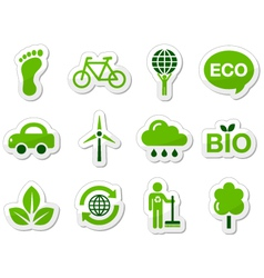 Green eco icons vector image