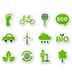 Green eco icons vector