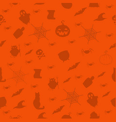 halloween seamless pattern with halloween items vector image