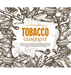 Hand drawn posters with tobacco or smoking vector