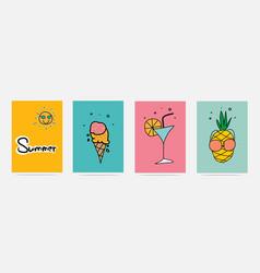 hand drawn summer set vector image