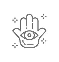 hand fatima hamsa mascot talisman amulet vector image