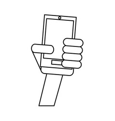 Hand holding smartphone technology outline vector