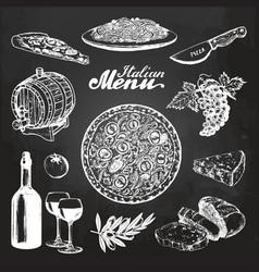 Hand sketched italian menu mediterranean vector