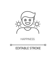 Happiness pixel perfect linear icon vector