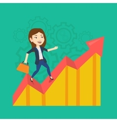 Happy business woman standing on profit chart vector image