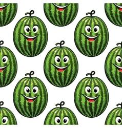 Happy green watermelon seamless pattern vector