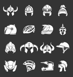 Helmet icons set grey vector