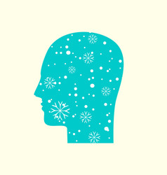 human head in profile with snowflakes in blue sky vector image