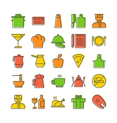Icon set for restaurant in thin line style with vector image