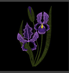Iris flowers embroidery fashion vector