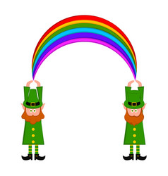 Irish elves witn a rainbow vector
